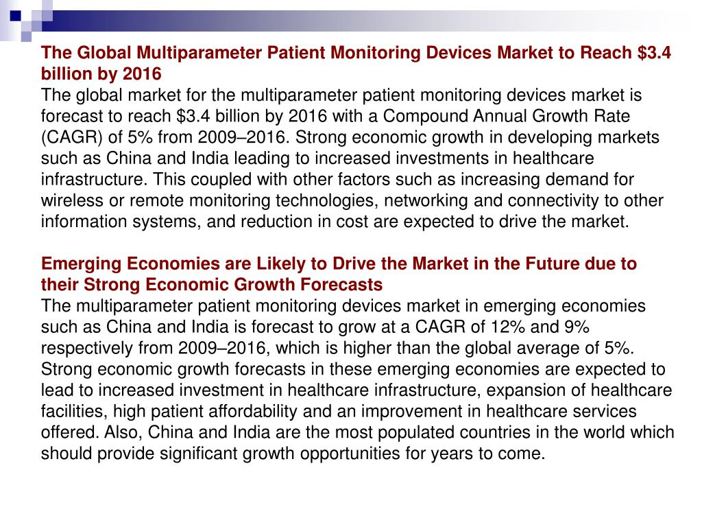 The Global Multiparameter Patient Monitoring Devices Market to Reach $3.4 billion by 2016