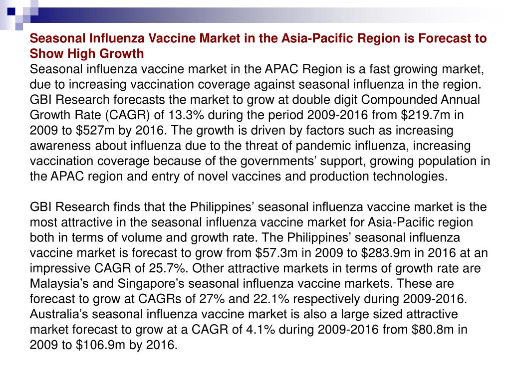Seasonal Influenza Vaccine Market in the Asia-Pacific Region is Forecast to Show High Growth
