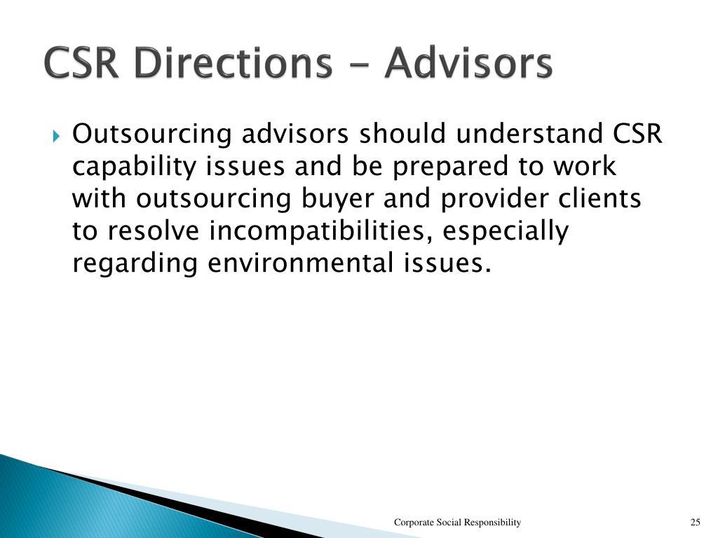 CSR Directions - Advisors