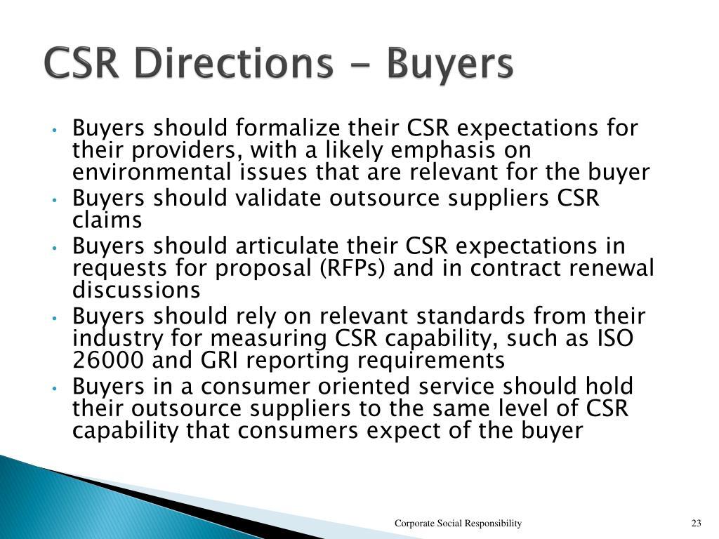 CSR Directions - Buyers