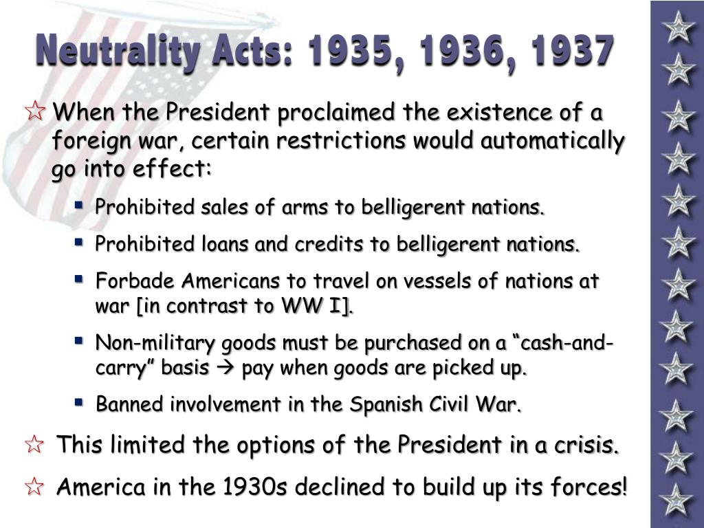 Neutrality Acts: 1935, 1936, 1937