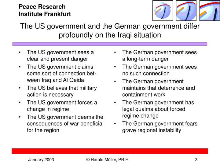 The us government and the german government differ profoundly on the iraqi situation