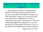 critcal ground water areas