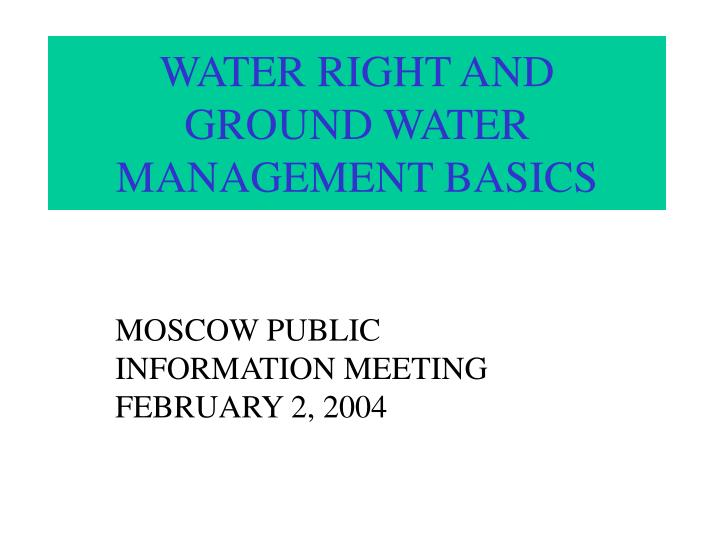 water right and ground water management basics n.