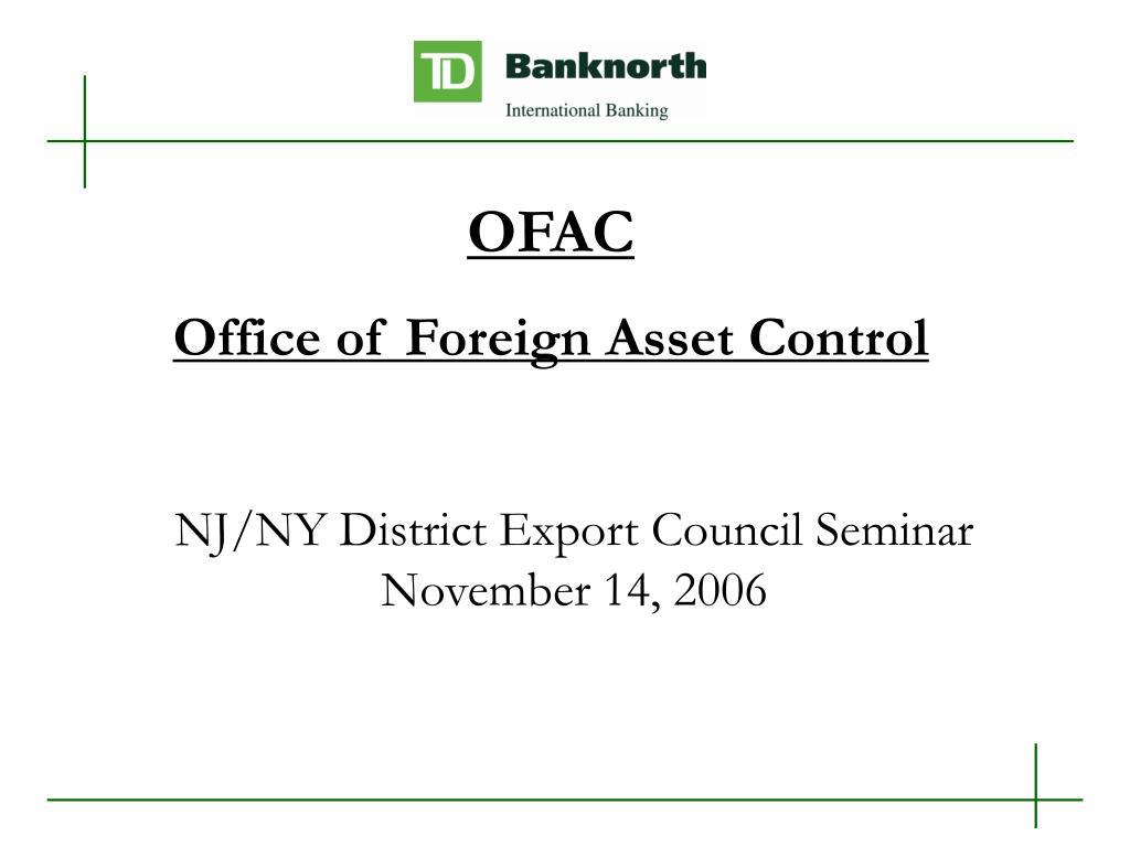 nj ny district export council seminar november 14 2006 l.
