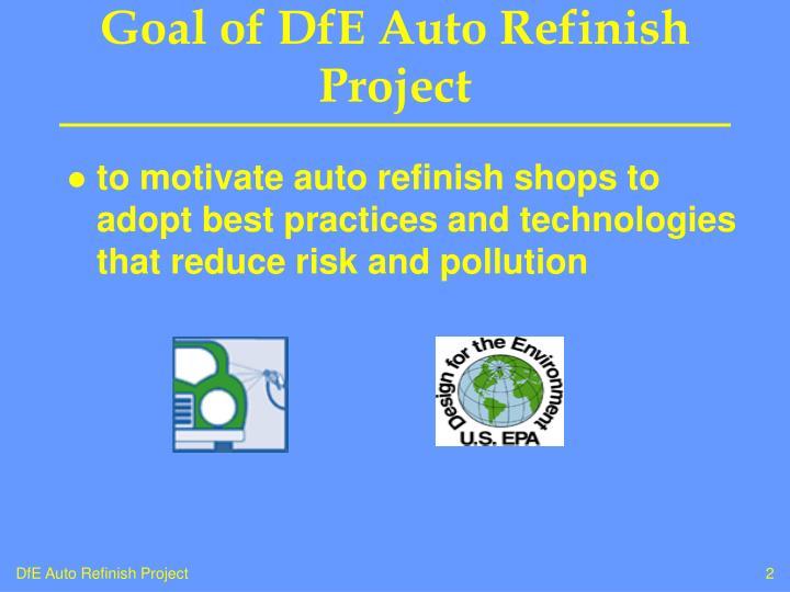 Goal of dfe auto refinish project
