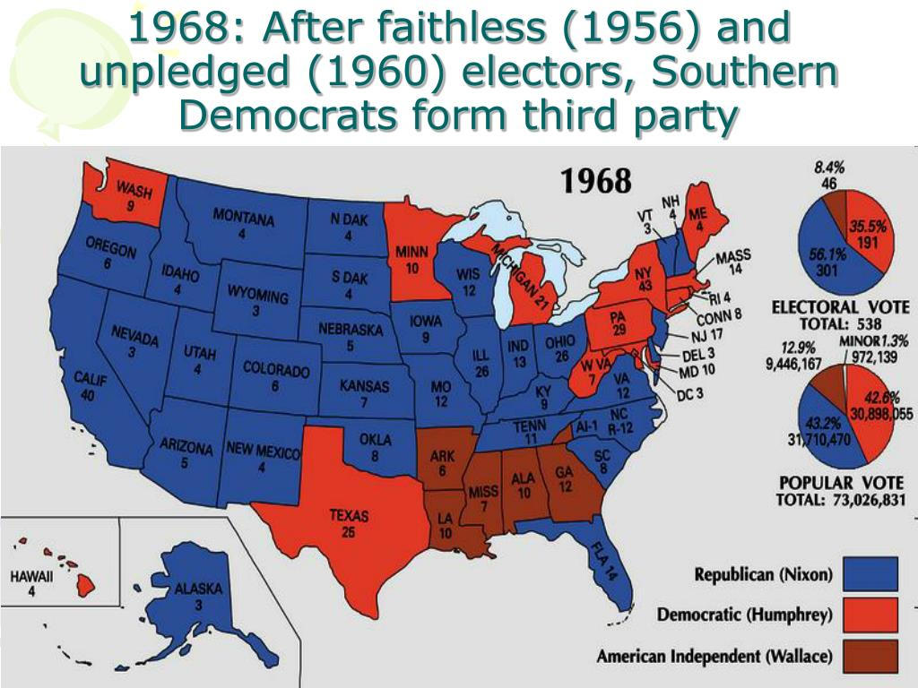 1968: After faithless (1956) and unpledged (1960) electors, Southern Democrats form third party