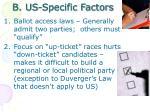b us specific factors
