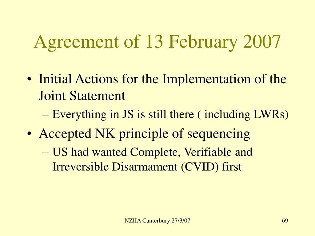 Agreement of 13 February 2007