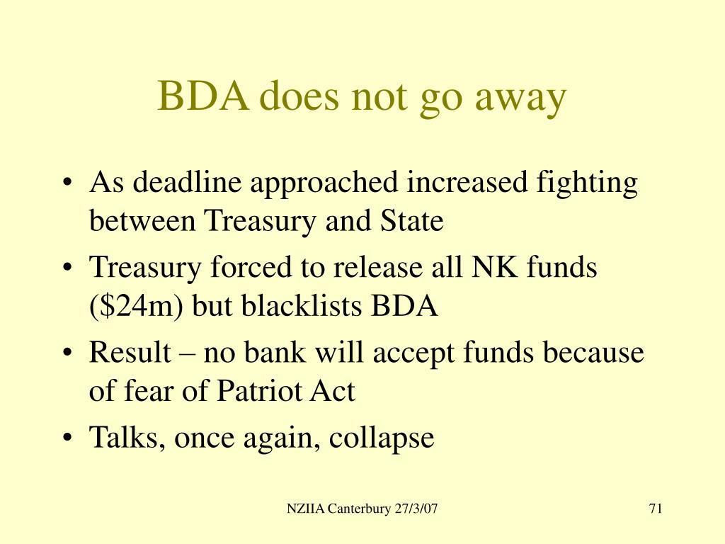 BDA does not go away