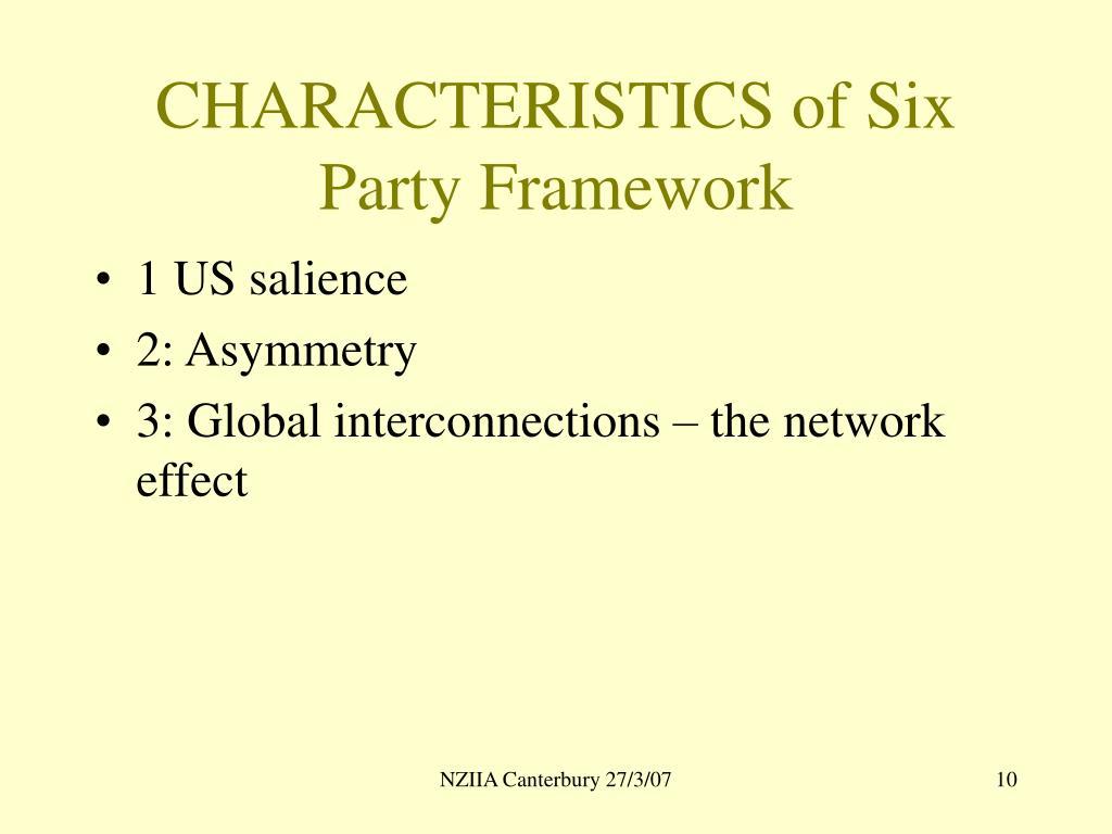 CHARACTERISTICS of Six Party Framework