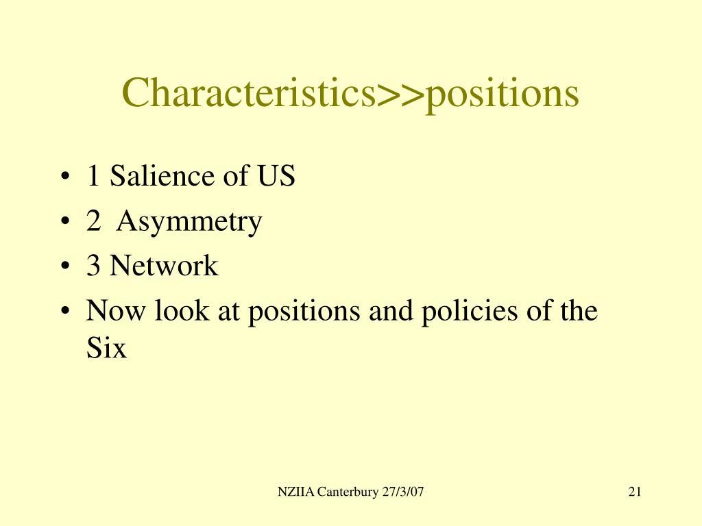 Characteristics>>positions