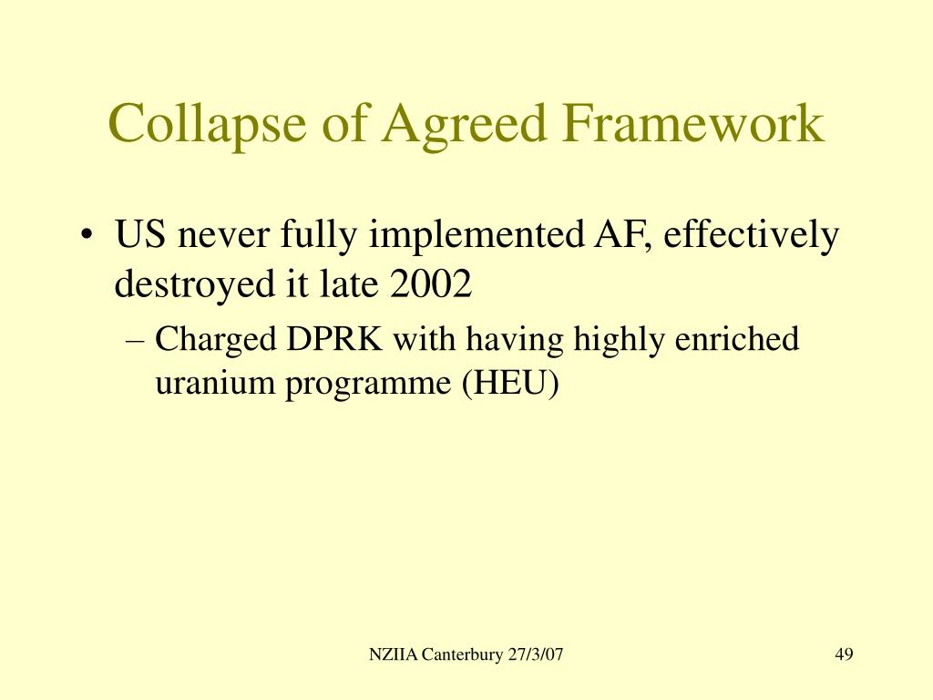 Collapse of Agreed Framework
