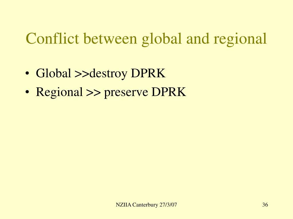 Conflict between global and regional