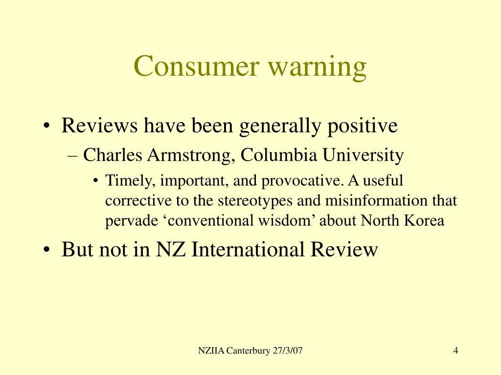 Consumer warning