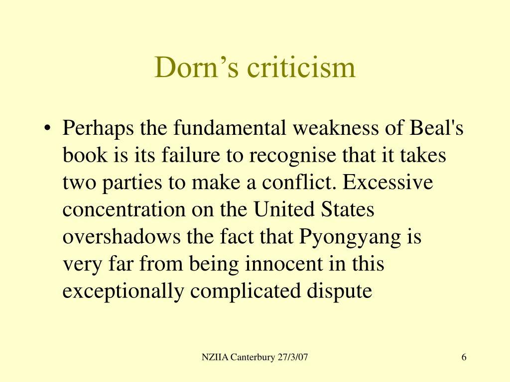 Dorn's criticism