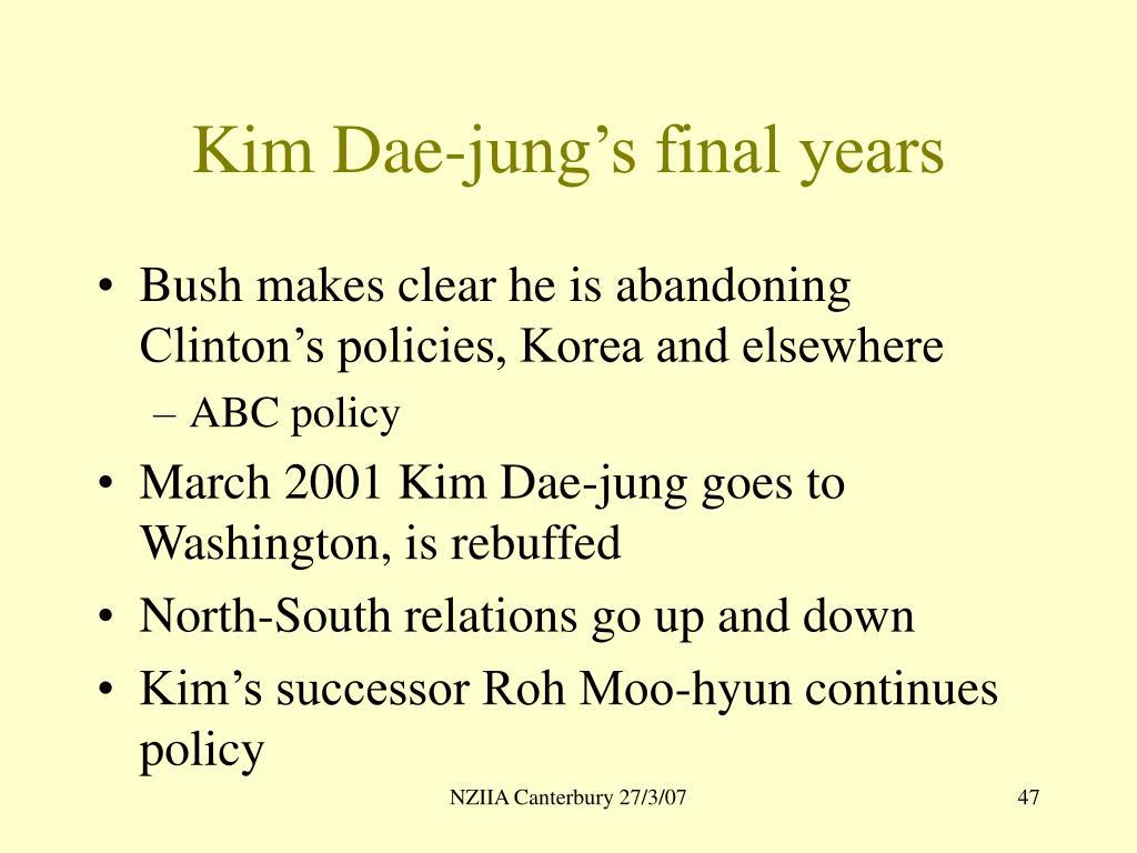 Kim Dae-jung's final years
