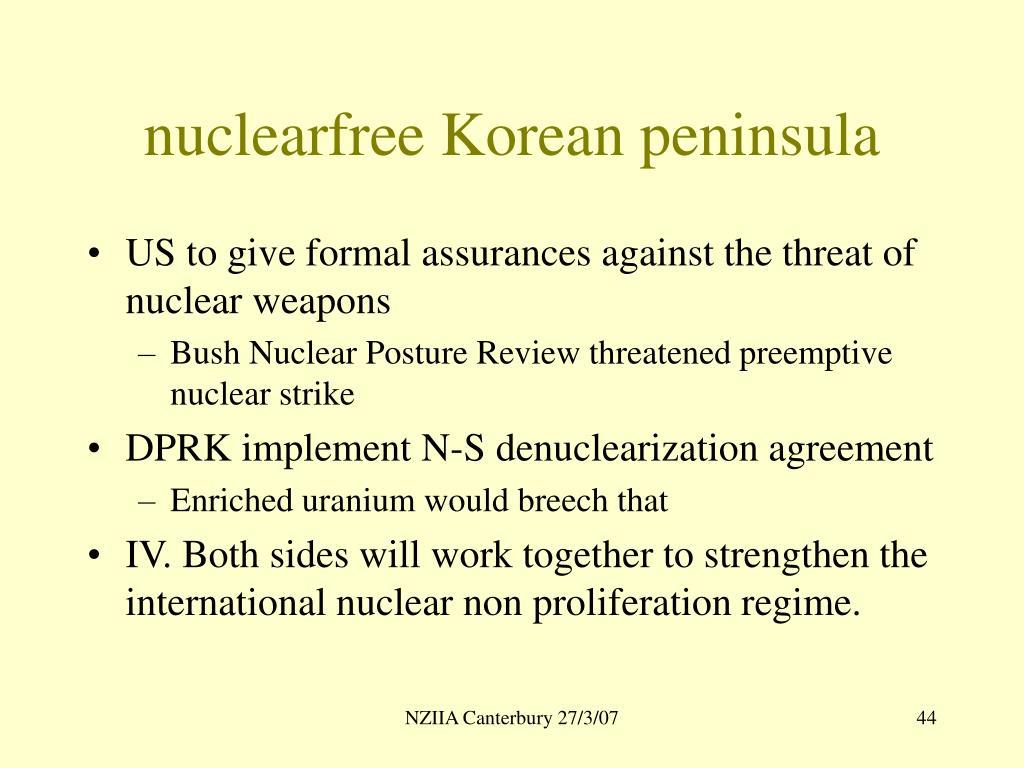nuclearfree Korean peninsula