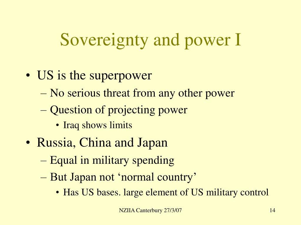 Sovereignty and power I