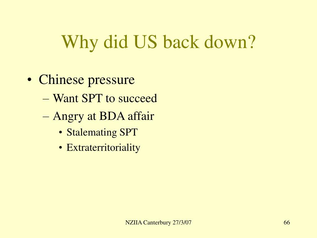 Why did US back down?