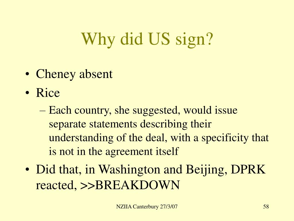 Why did US sign?