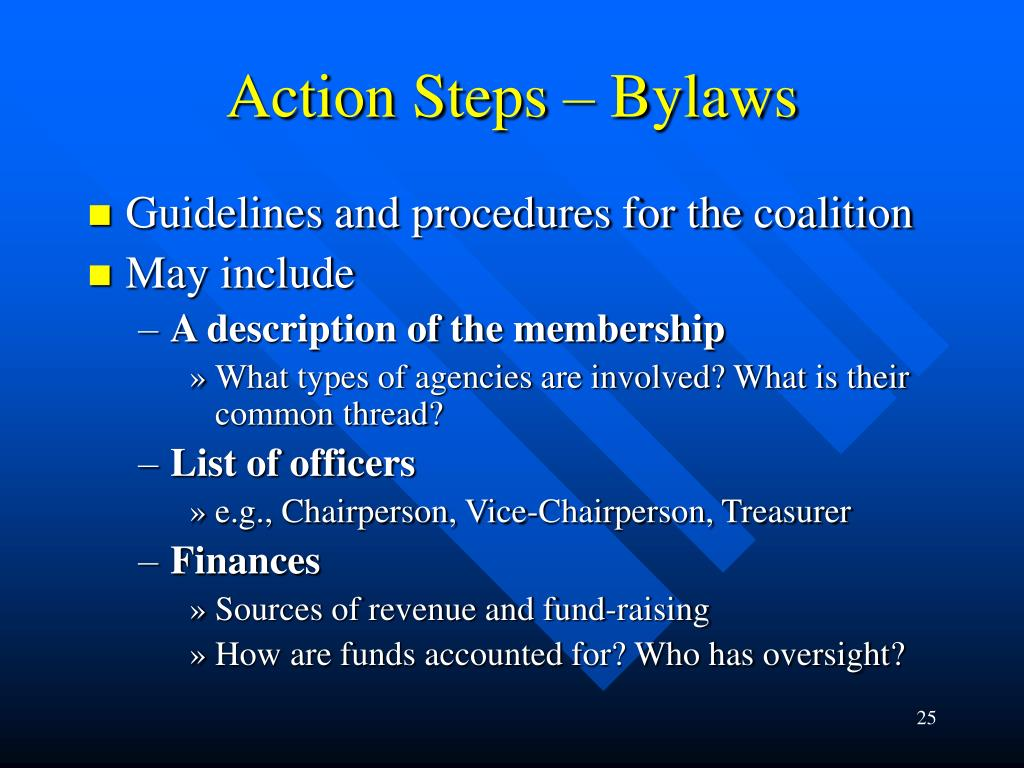 Action Steps – Bylaws