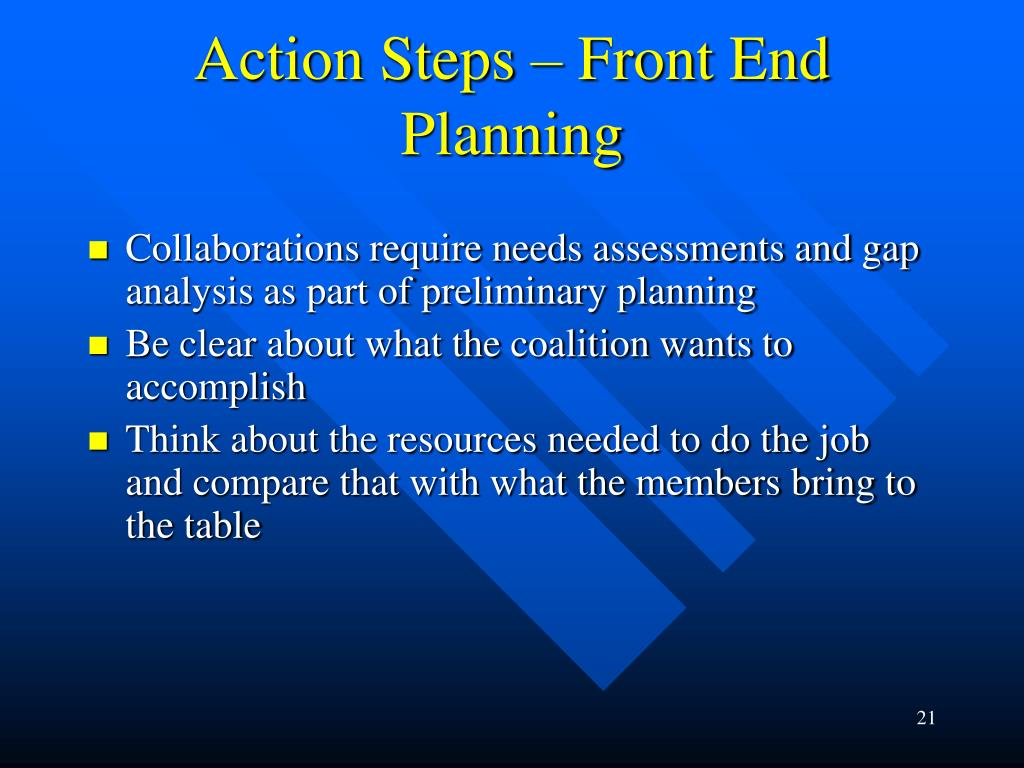 Action Steps – Front End Planning