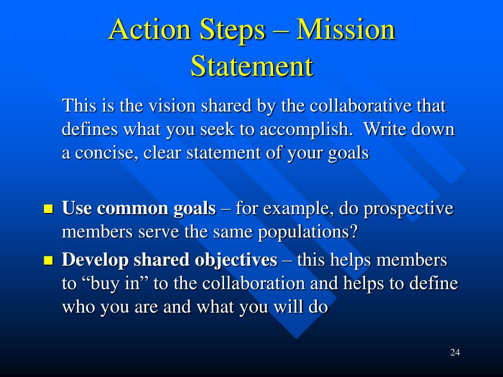 Action Steps – Mission Statement