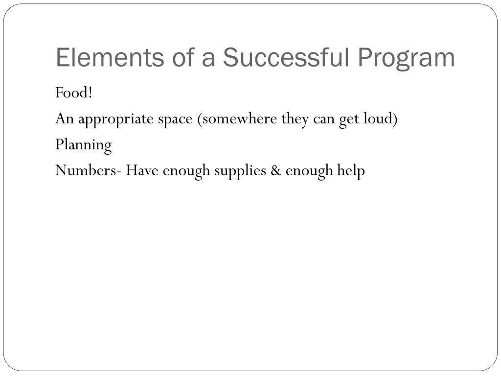 Elements of a Successful Program