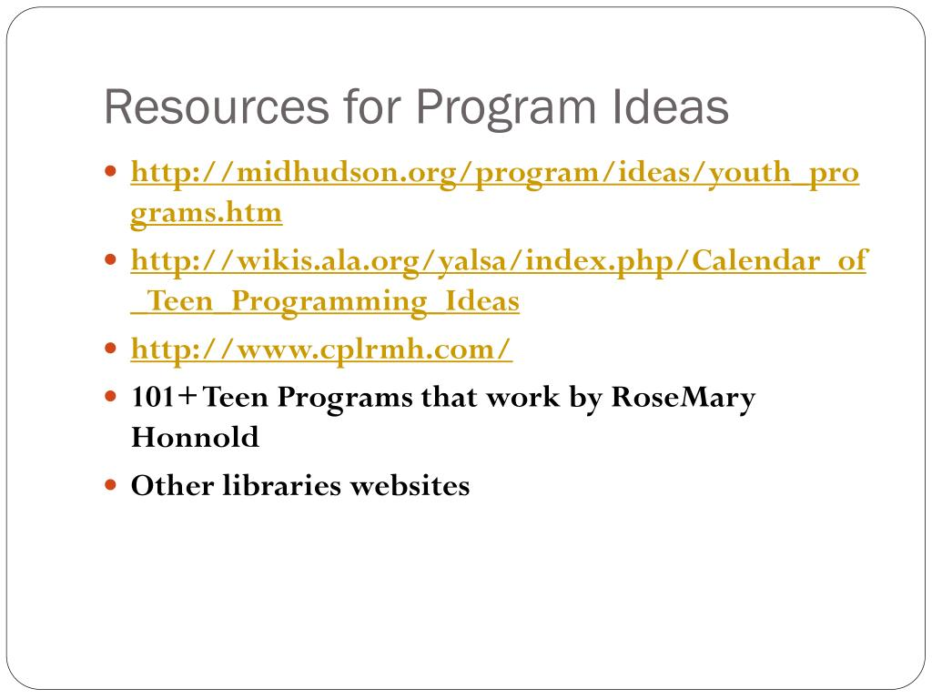 Resources for Program Ideas