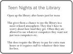 teen nights at the library