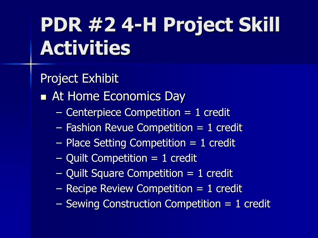 PDR #2 4-H Project Skill Activities
