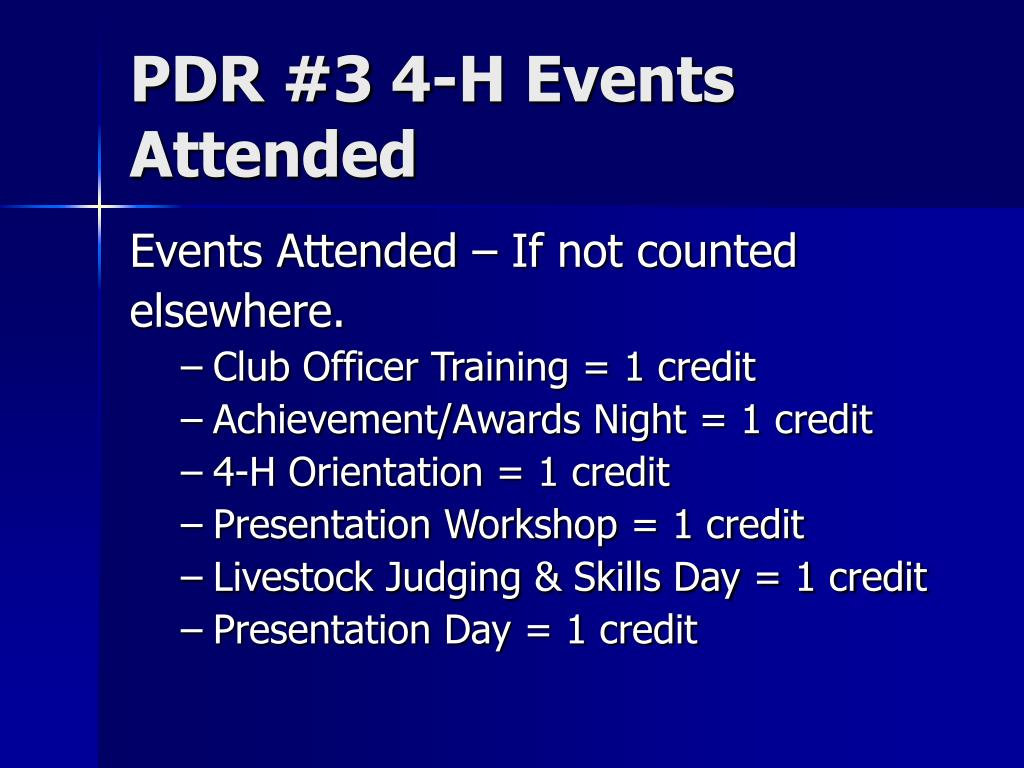 PDR #3 4-H Events Attended