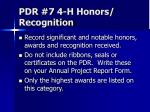 pdr 7 4 h honors recognition
