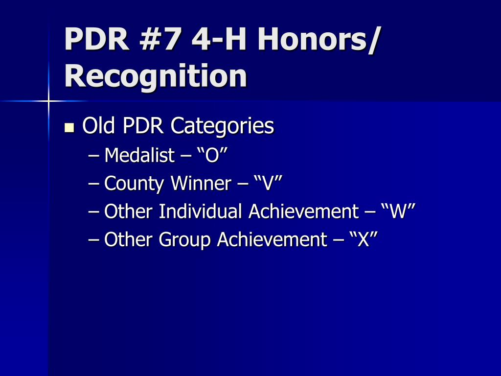 PDR #7 4-H Honors/
