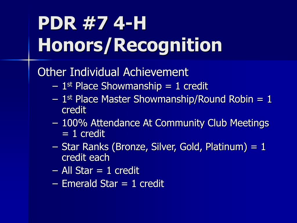 PDR #7 4-H Honors/Recognition