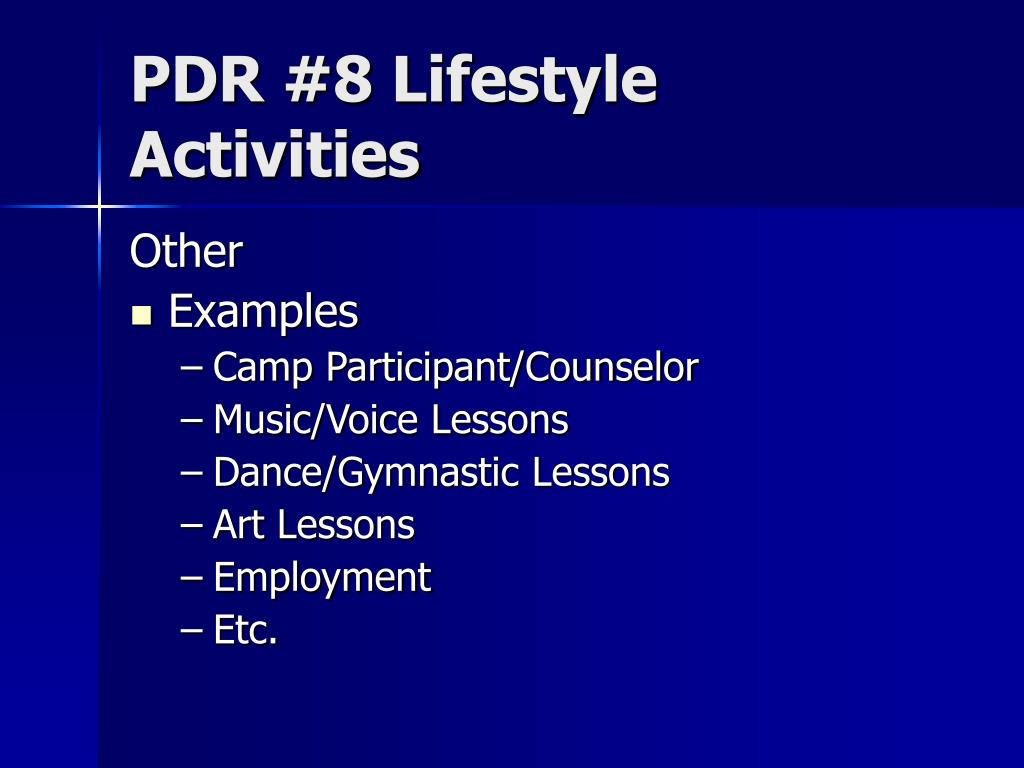 PDR #8 Lifestyle Activities