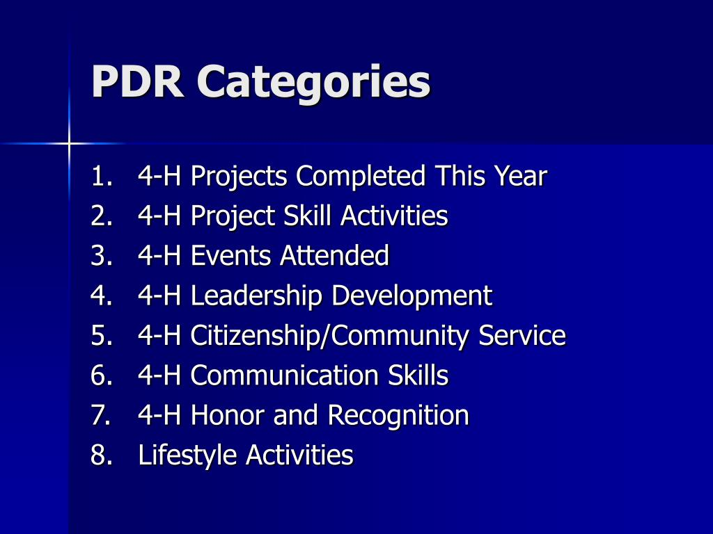 PDR Categories