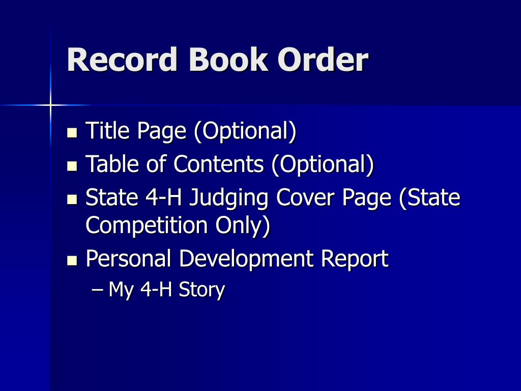 Record Book Order