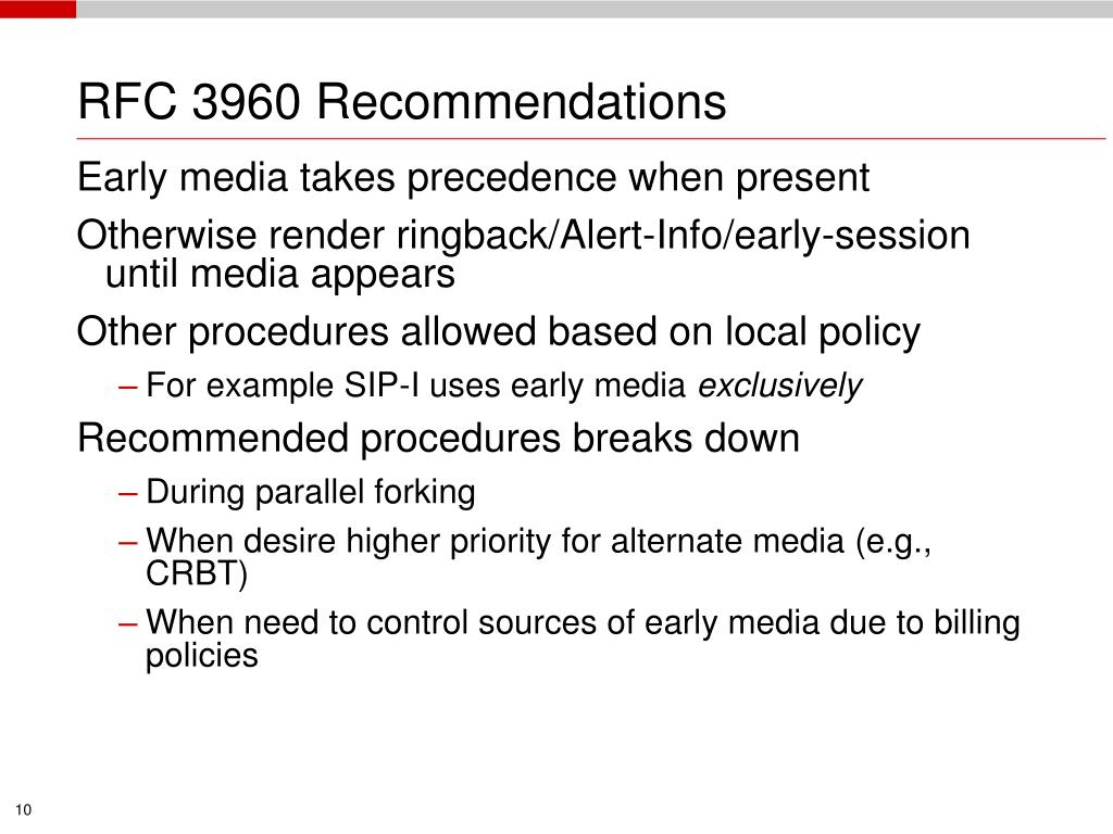 RFC 3960 Recommendations