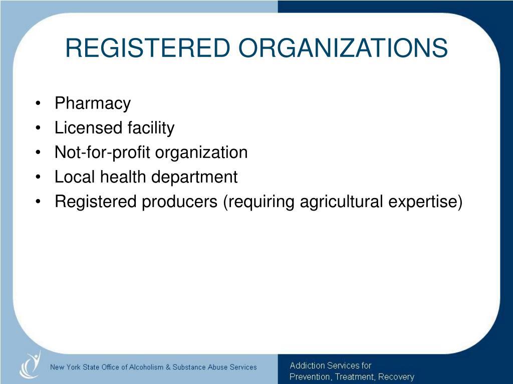 REGISTERED ORGANIZATIONS