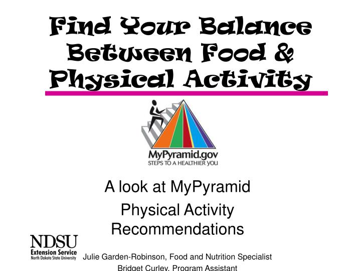 Find your balance between food physical activity