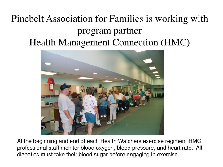 At the beginning and end of each Health Watchers exercise regimen, HMC professional staff monitor bl...