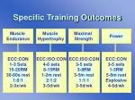 specific training outcomes