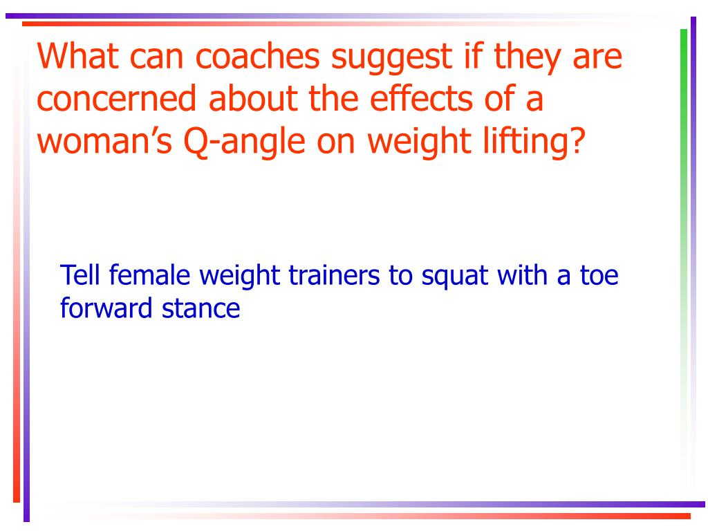 What can coaches suggest if they are concerned about the effects of a woman's Q-angle on weight lifting?