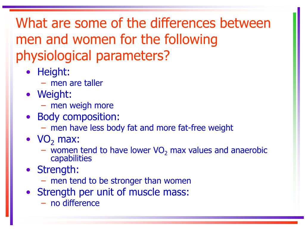 What are some of the differences between men and women for the following physiological parameters?