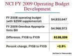 nci fy 2009 operating budget development