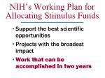 nih s working plan for allocating stimulus funds