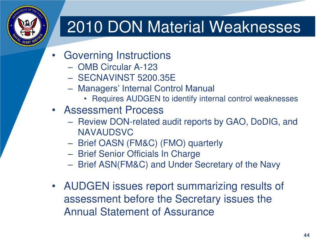 2010 DON Material Weaknesses