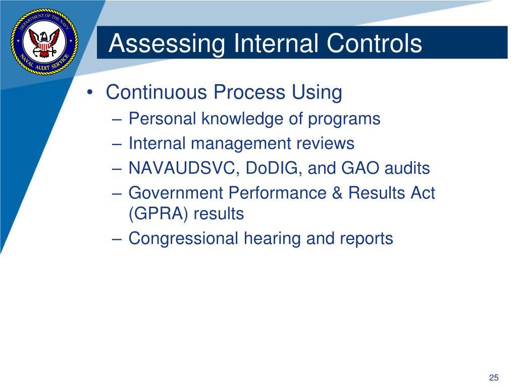 Assessing Internal Controls